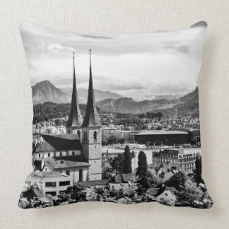 Lucerne from above black and white photo pillow