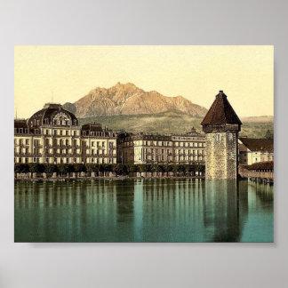 Lucerne, Hotel du Lac, Pilatus, Switzerland vintag Poster