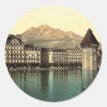 Lucerne, Hotel du Lac, Pilatus, Switzerland vintag Round Sticker