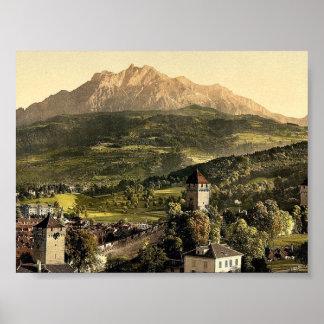 Lucerne, Musegg and Pilatus, Pilatus, Switzerland Poster