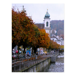 Lucerne old city - Trees on the river bank Postcard
