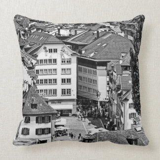 Lucerne olt town black and white photo pillow