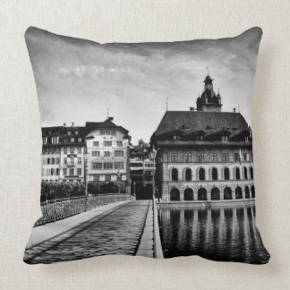 Lucerne switzerland black and white photo pillow