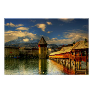 Lucerne Switzerland Chapel Bridge Mount Pilatus Posters