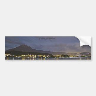 Lucerne Switzerland Night Scene with Mount Pilatus Bumper Sticker