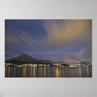Lucerne Switzerland Night Scene with Mount Pilatus Print