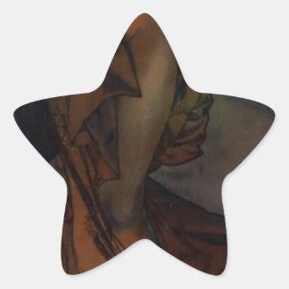 Lucero del alba de Alfonso Mucha Pegatina En Forma De Estrella