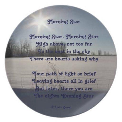 Lucero del alba del poema de la placa por el aflor plato