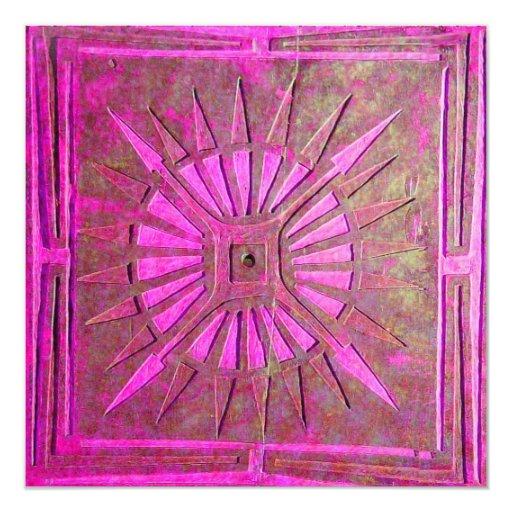 """LUCERO DEL ALBA, rosa brillante, blanco violeta Invitación 5.25"""" X 5.25"""""""