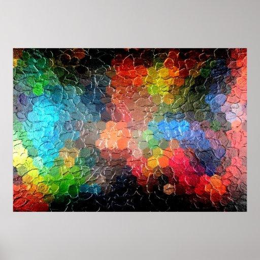 Luces abstractas de la pintura el | en la noche póster
