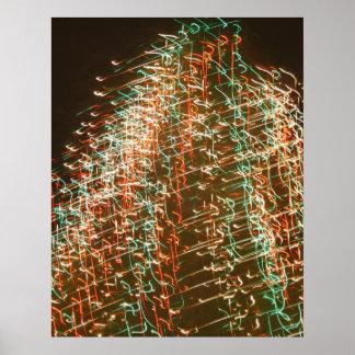 Luces abstractas del árbol de navidad, fondo negro póster