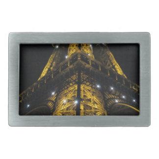 Luces ámbar de Nightime de la torre Eiffel - Hebilla De Cinturón Rectangular