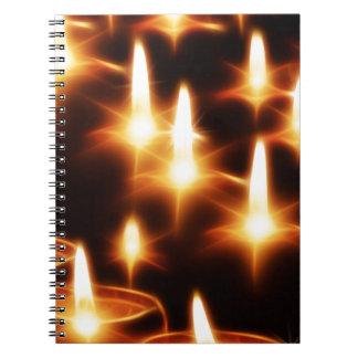 Luces artísticas de la vela libretas
