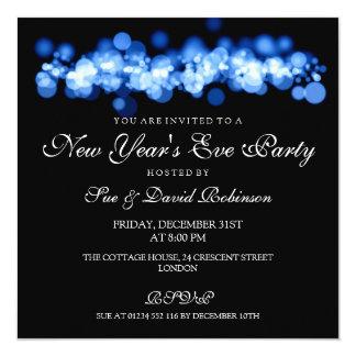 """Luces azules de Bokeh del fiesta de Noche Vieja Invitación 5.25"""" X 5.25"""""""