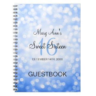 Luces azules del brillo del Guestbook del fiesta Cuadernos