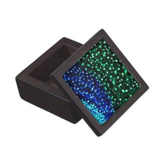 Luces azules y verdes de Bokeh Caja De Recuerdo De Calidad