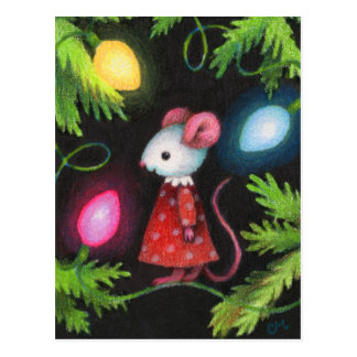 Luces bonitas - arte lindo del ratón del árbol de postal