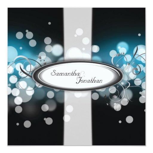 Luces brillantes del monograma azul de la invitación 13,3 cm x 13,3cm