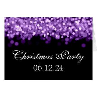 Luces brillantes púrpuras de la fiesta de Navidad Tarjeta De Felicitación