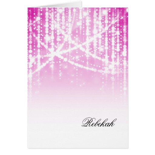 Luces brillantes rosadas de Mitzvah del palo Tarjeta Pequeña