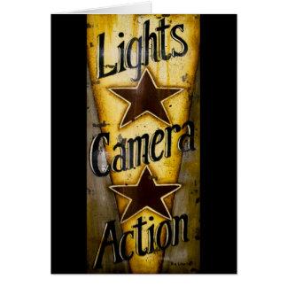 Luces, cámara, acción tarjeta de felicitación