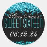 Luces chispeantes del dulce dieciséis azules pegatina redonda
