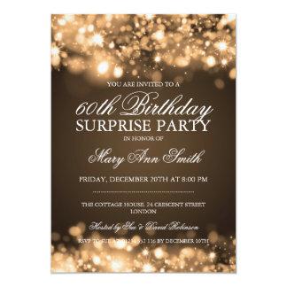 Luces chispeantes del oro de la fiesta de invitación 12,7 x 17,8 cm