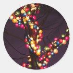 Luces coloridas de la burbuja pegatina redonda