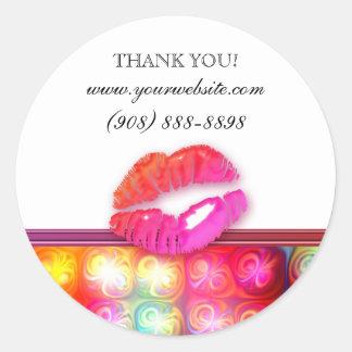Luces coloridas de los labios brillantes del pegatina redonda