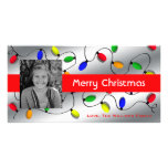 Luces coloridas del árbol de navidad tarjeta con foto personalizada