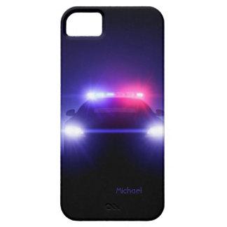 Luces completas del coche policía que centellan el iPhone 5 carcasas