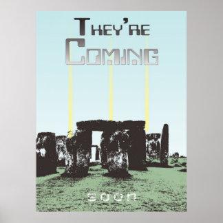 Luces de aterrizaje del UFO de Stonehenge Poster