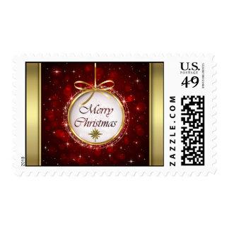 Luces de Bokeh del ornamento del árbol de navidad Sellos Postales