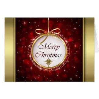 Luces de Bokeh del ornamento del árbol de navidad Tarjeta De Felicitación