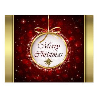 Luces de Bokeh del ornamento del árbol de navidad Tarjetas Postales