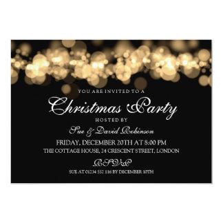 """Luces de Bokeh del oro de la fiesta de Navidad Invitación 5"""" X 7"""""""