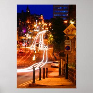 Luces de calle urbanas de la ciudad póster