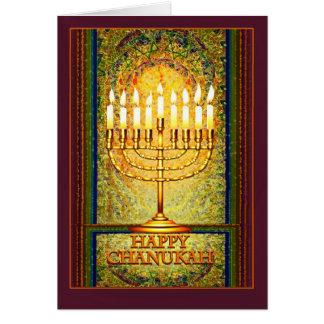 Luces de Chanukah, Menorah en vitral Tarjeta De Felicitación