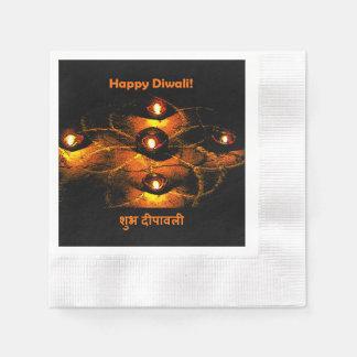 Luces de Diwali Diya y saludo felices del Hindi Servilleta De Papel
