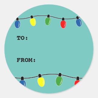 Luces de encargo del árbol de navidad de los pegatina redonda