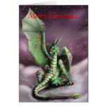 Luces de hadas del dragón del navidad tarjeta de felicitación