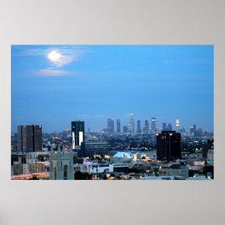 Luces de la ciudad de Los Ángeles en la impresión  Poster