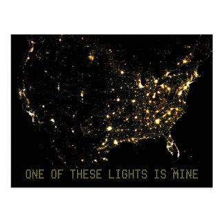 Luces de la ciudad de los E.E.U.U. en la camisa de Tarjeta Postal