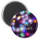 Luces de la estrella de la Feliz Año Nuevo Iman De Nevera