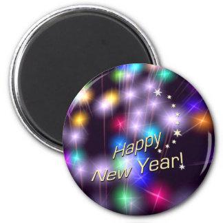 Luces de la estrella de la Feliz Año Nuevo Imán Redondo 5 Cm