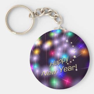 Luces de la estrella de la Feliz Año Nuevo Llavero Redondo Tipo Pin