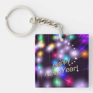 Luces de la estrella de la Feliz Año Nuevo Llavero Cuadrado Acrílico A Doble Cara