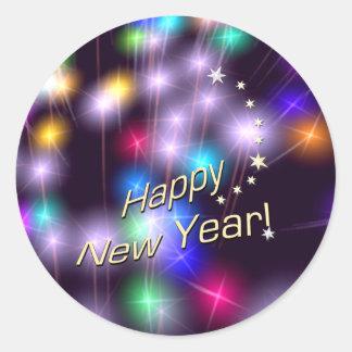 Luces de la estrella de la Feliz Año Nuevo Pegatina Redonda