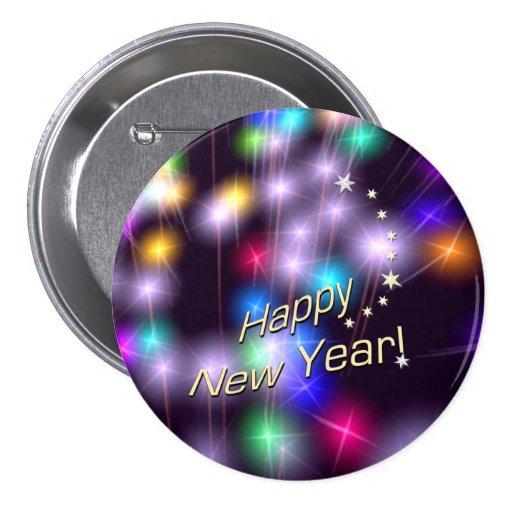 Luces de la estrella de la Feliz Año Nuevo Pin Redondo De 3 Pulgadas