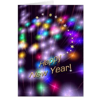 Luces de la estrella de la Feliz Año Nuevo Tarjeta De Felicitación